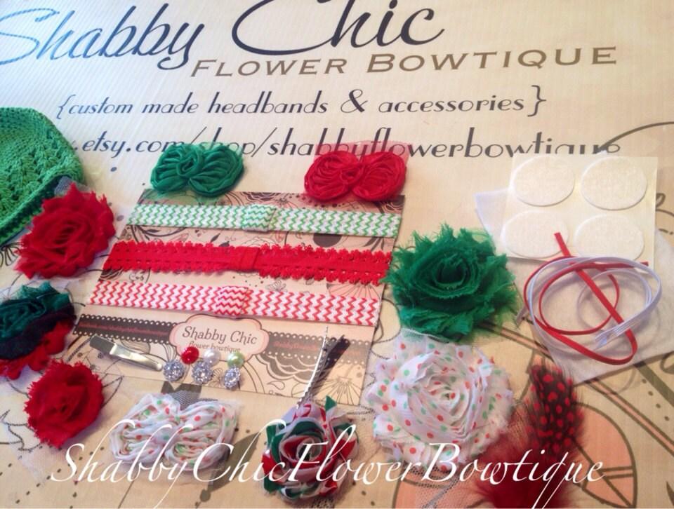 Christmas Headband Kit Create 5 Headbands 2 Clips 1 Hat Chevron Red Green Holiday Baby Shower Shabby Chic Flower DIY Headband Kit Craft Bow - ShabbyFlowerBowtique