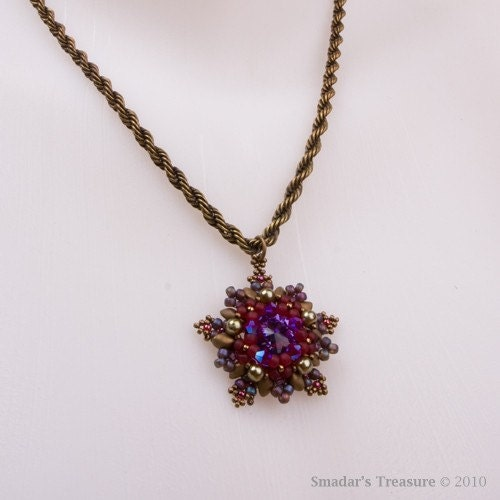 Purple, Red and Bronze Crystal Pendant Necklace