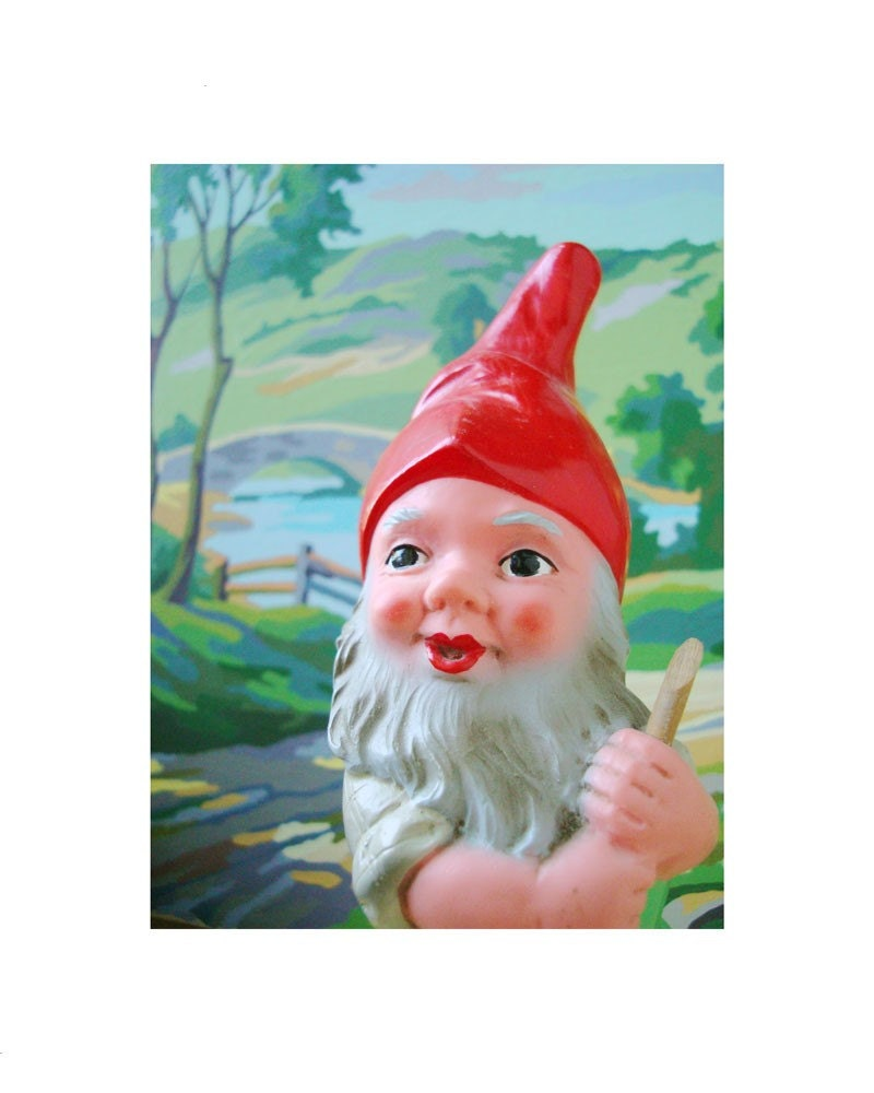 strolling gnome with paint by number background print - doecdoe