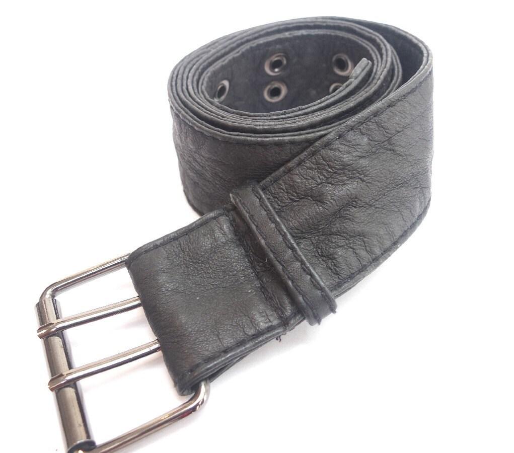 Vintage black soft leather belt - urbandon