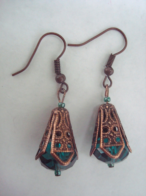 Emerald Green Antique Copper Earrings
