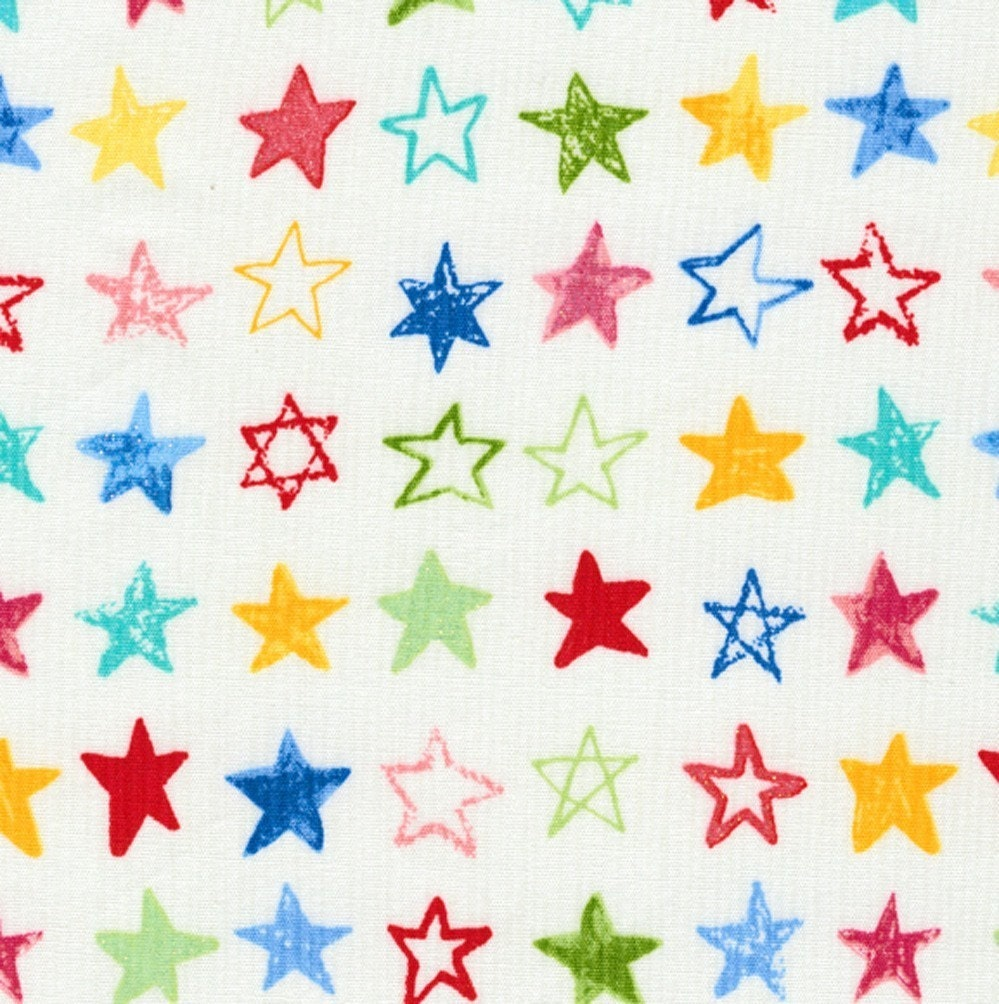 Candypop Crayola Stars on White - Japanese Fabric Fat Quarter