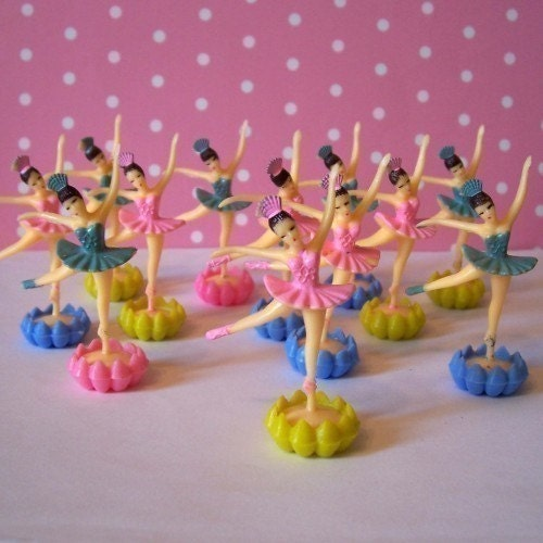 12 Mini Ballerina Cupcake Topper with Rosebud Base
