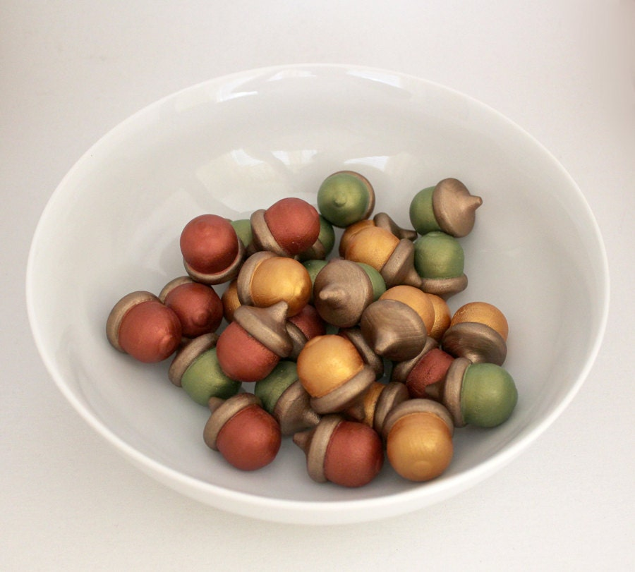 Autumn Acorns, Bowl Fillers, Painted Wooden Acorns, Fall Wedding Decor, set of 30 - TheBakersDaughter