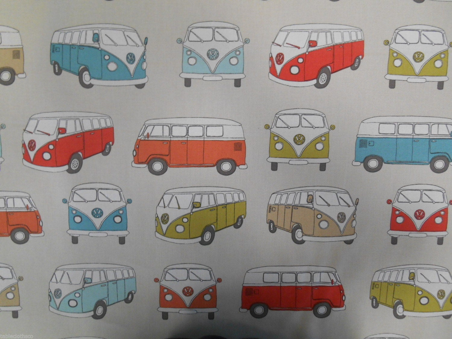 PVC coated cotton oilcloth fabric wipe clean tablecloth VW camper multi  per metre
