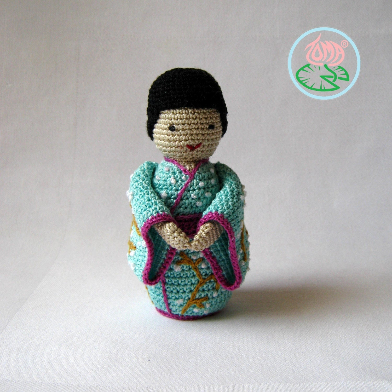 Amigurumi Kokeshi Pattern : Amigurumi Geisha Kokeshi Japanese Doll PDF by tomacreations