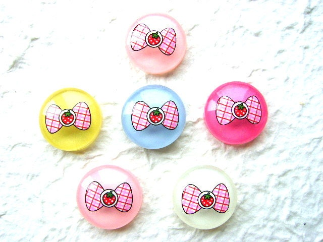 6 MIX Candy Pink Bow Strawberry Kawaii Cabochons 24mm