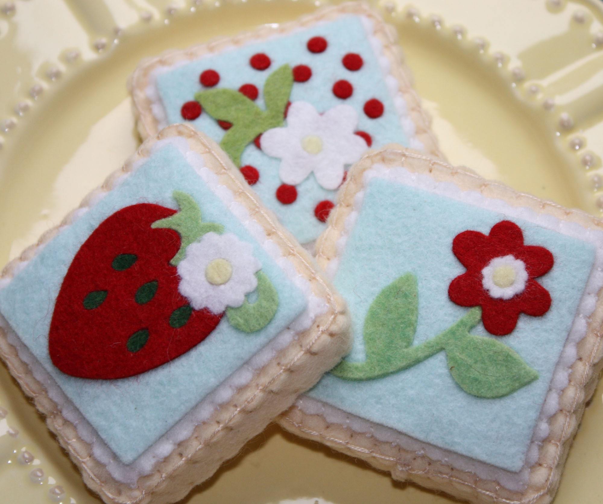 Felt Picnic Wild Red Strawberry And Aqua  Shortbread Sugar Cookies