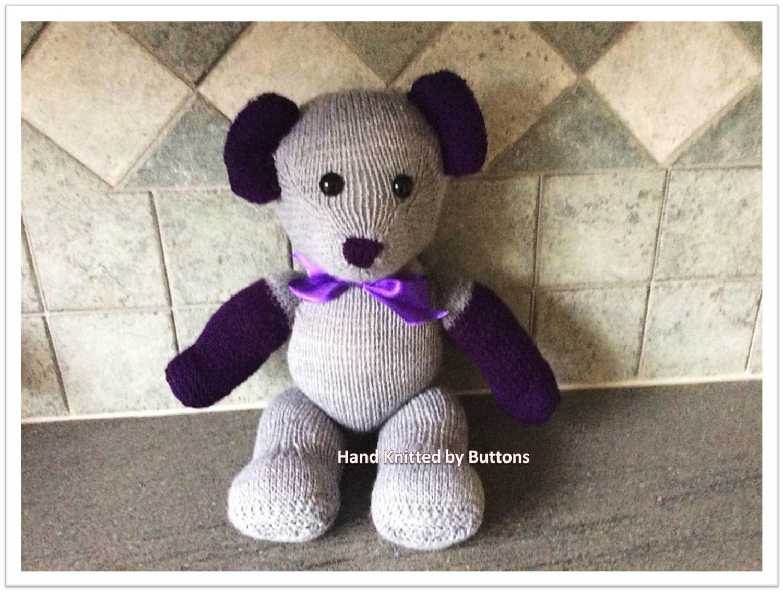 Hand Knitted Teddy bear Grey teddy bear CE tested teddy UK Seller Newborn giftChristening teddyHand knitted teddy Teddy Bear