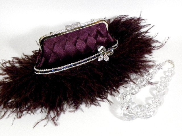 ELISE - Unique Luxury Evening Bag Ostrich Feathers Butterfly Plum