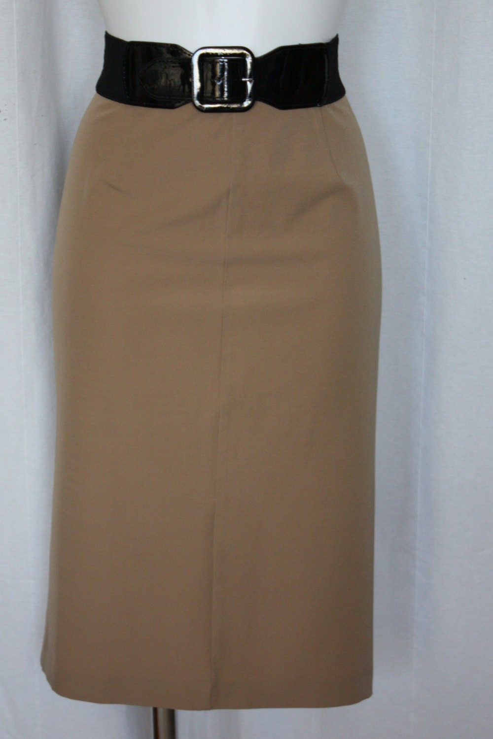 camel pencil skirt wool blend italian vintage by