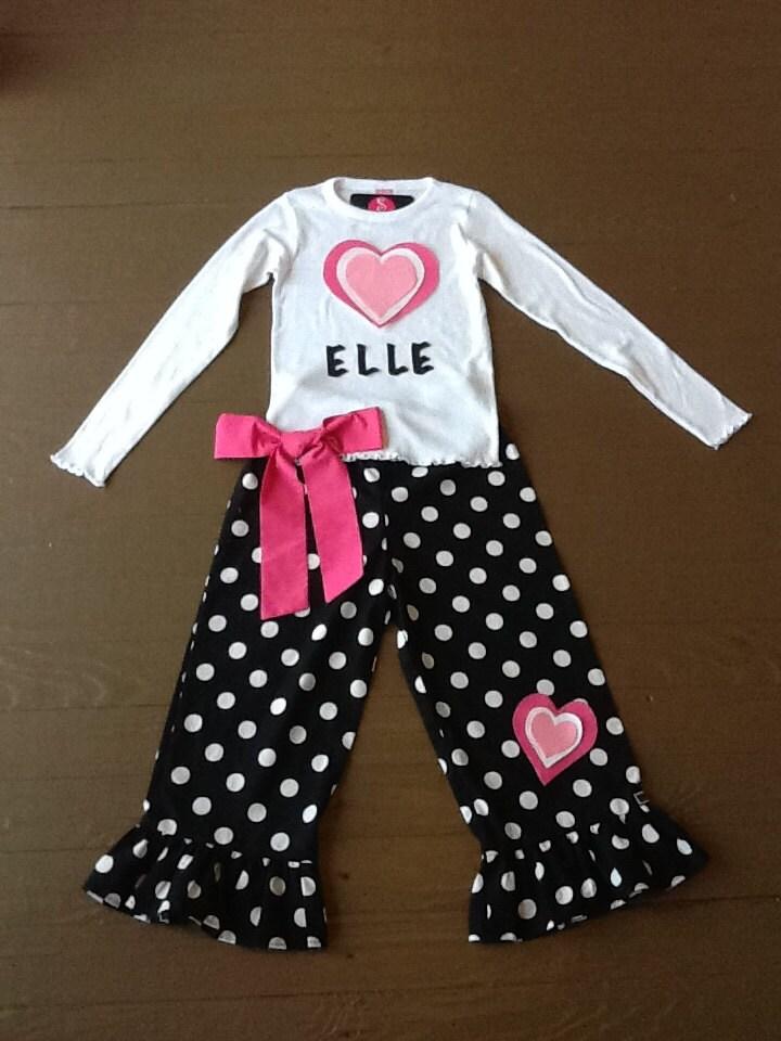 Custom children s clothing personalized girls valentine shirt ruffle