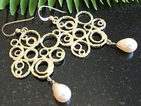 14k Gold Girlfriend GP Freshwater PEARL Bubble Earrings FREE SHIPPING