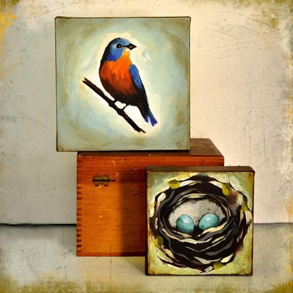 Original Bird Painting - 8 x 8 Inch Betty Bluebird -- Shabby Chic - Vintage Look - By Nancy Jean