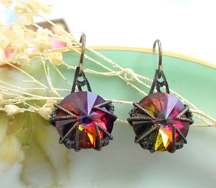 Swarovski Volcano Rivoli Earrings  Brass and by Katofmanycolors