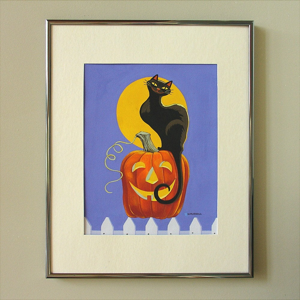 Halloween Original Painting Black Cat on Jack-O-Lantern
