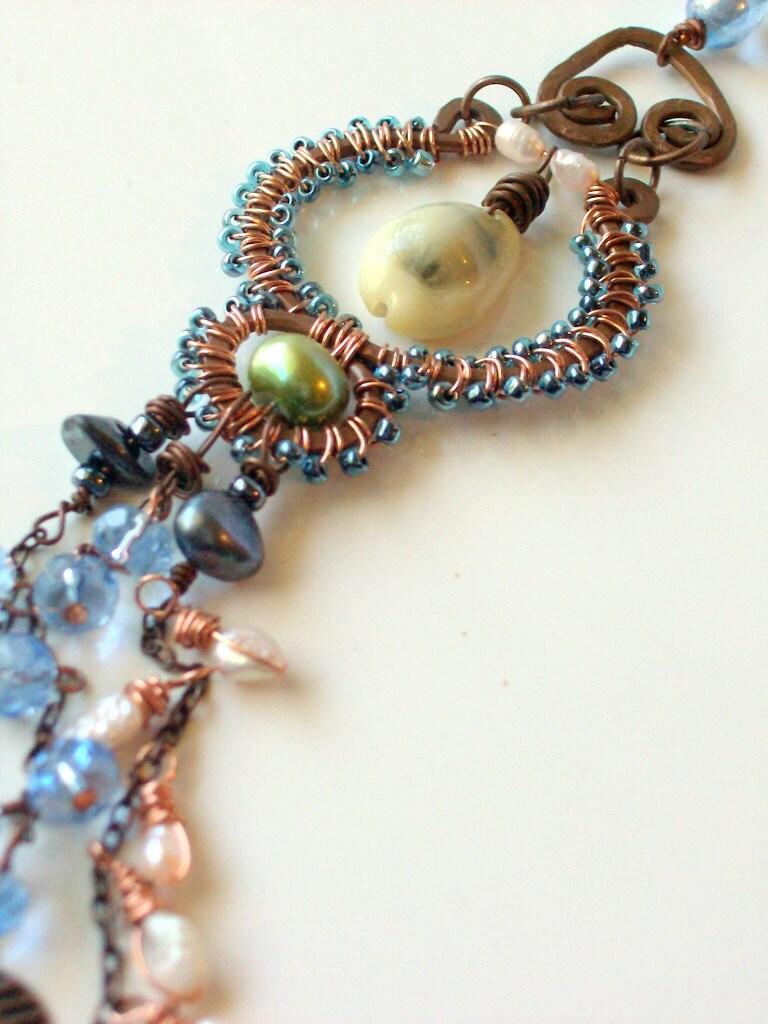 Bohemian Seashell Shoulder Duster Copper Earring - Long - Wire Wrapped - stoneandbone - Rustic - Gypsy