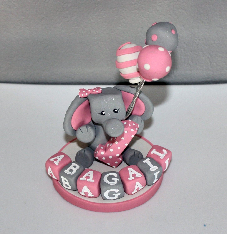 large custom elephant cake topper for birthday or baby shower