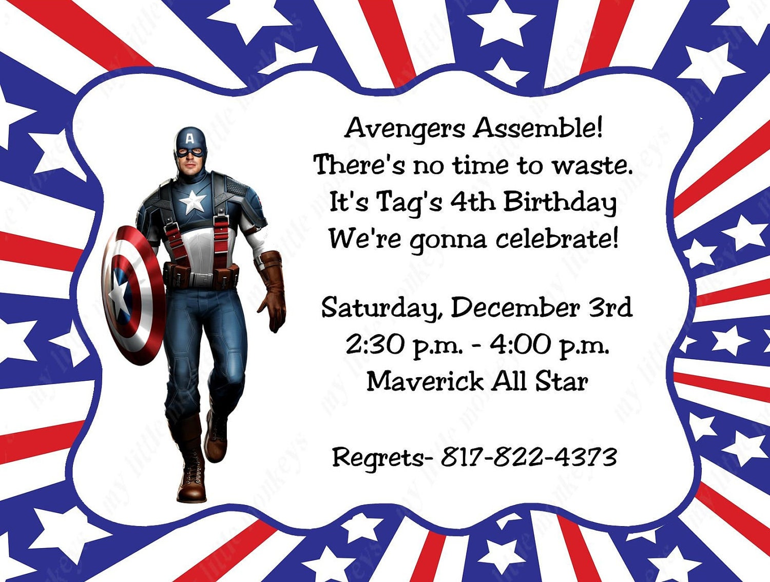 10 Captain America Invitations with Envelopes. by BethCloud723