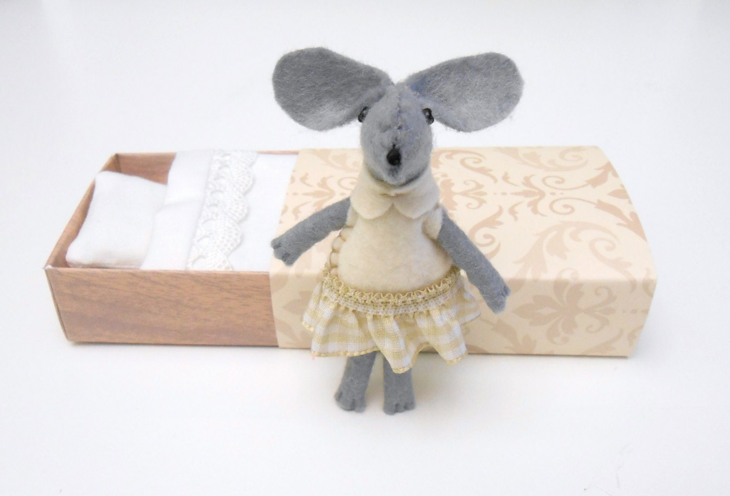 Plush mouse felt miniature gray cream brown - atelierpompadour