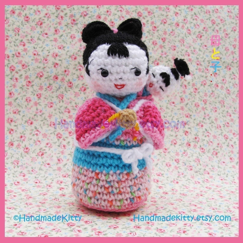 Japanese Kokeshi mother and baby Amigurumi Crochet Pattern by HandmadeKitty