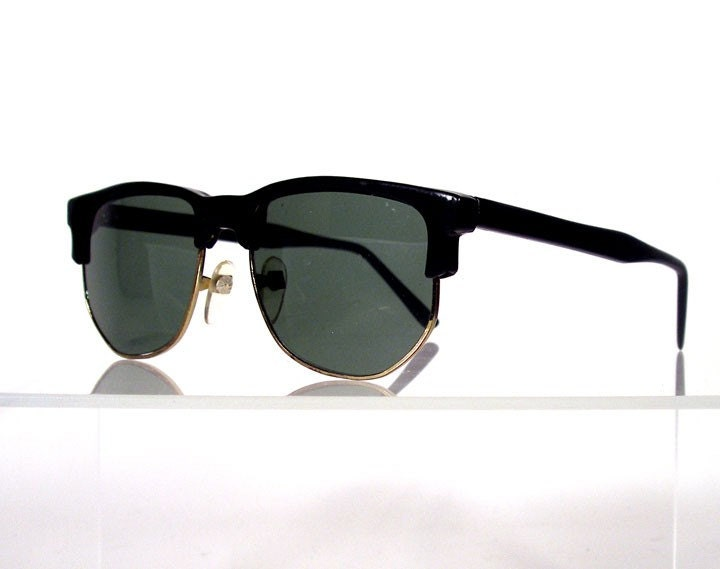 Vintage Black Browline Retro Sunglasses