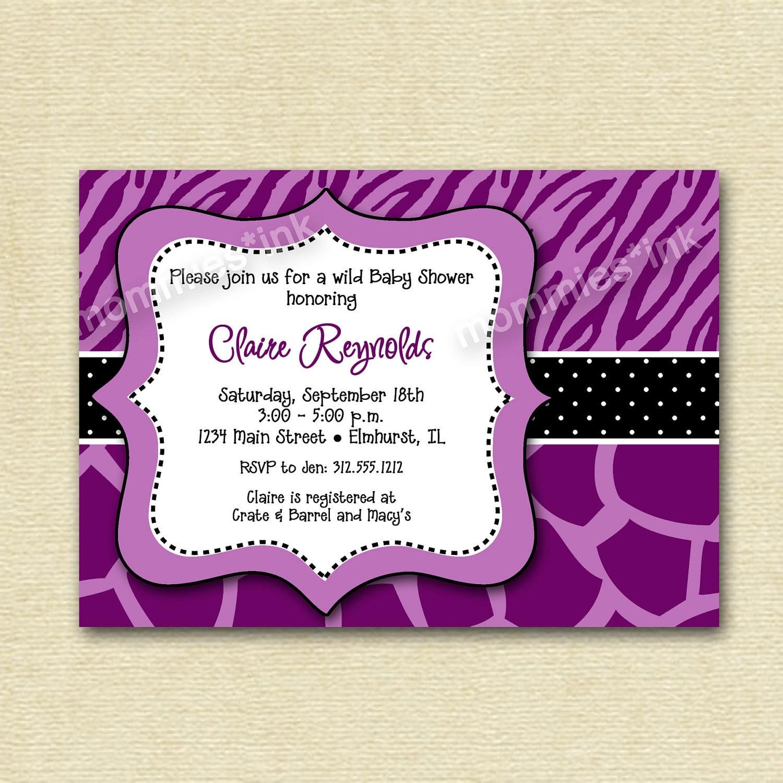 items similar to wild baby shower invitation purple zebra and giraffe
