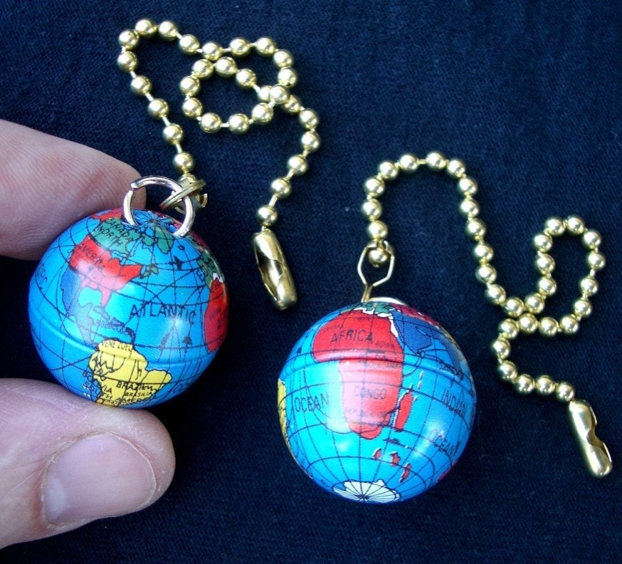 Set Of 2 Mini Globes Ceiling Fan Pull Chains By Famousfanpulls
