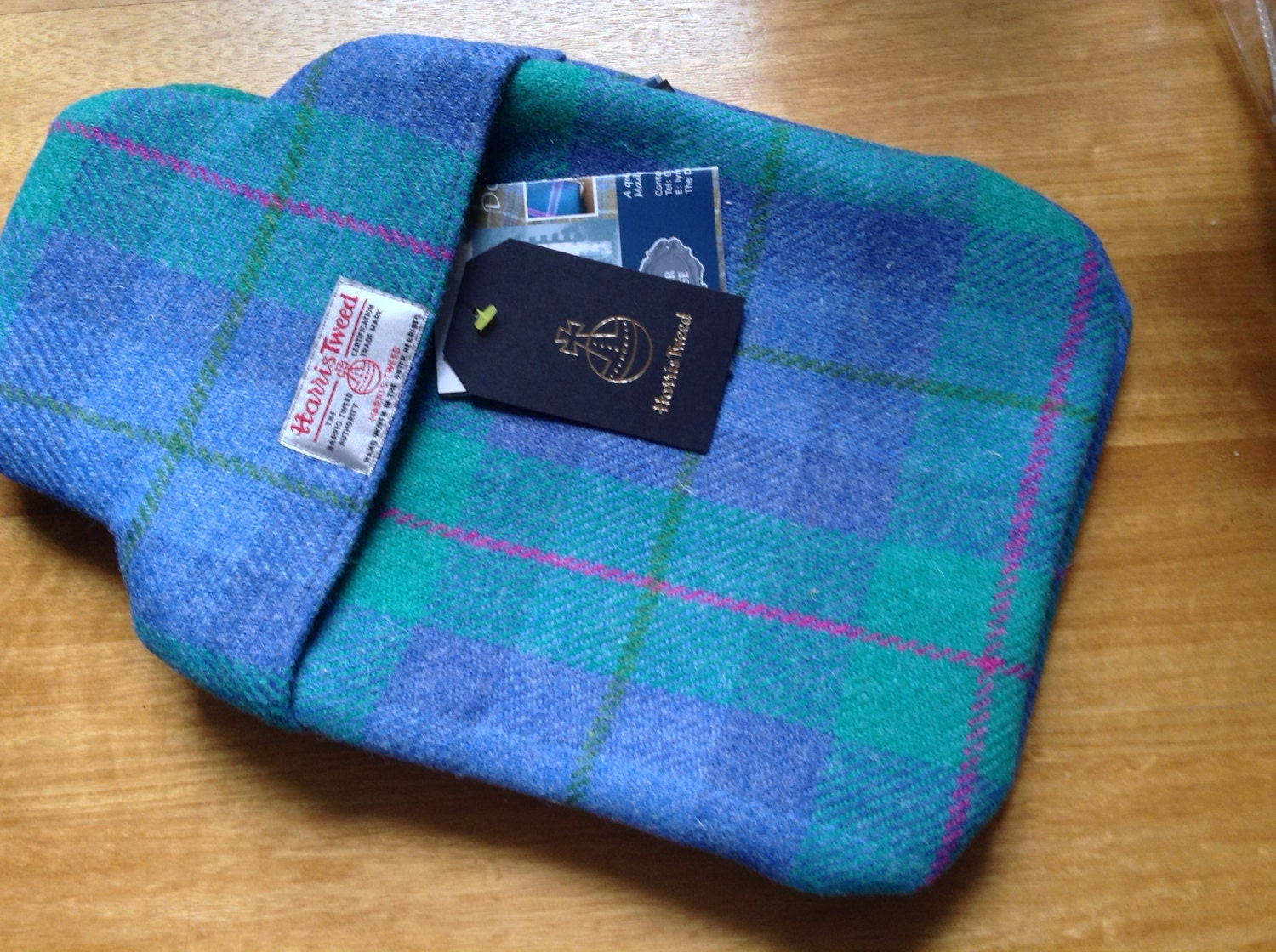 Harris Tweed Blue and Green with hint of pink Thermal lined hot water bottle cover
