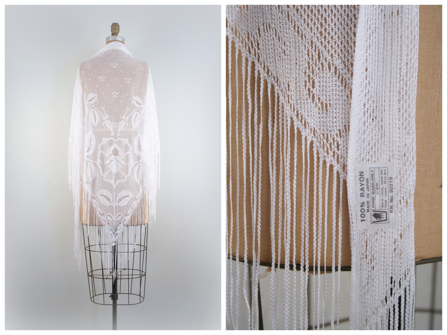 1970s lacey crochet shawl  soft rayon  fringe  Bohemian Bride  hippie luxe  vintage 70s prom  modern flapper $44.21 AT vintagedancer.com