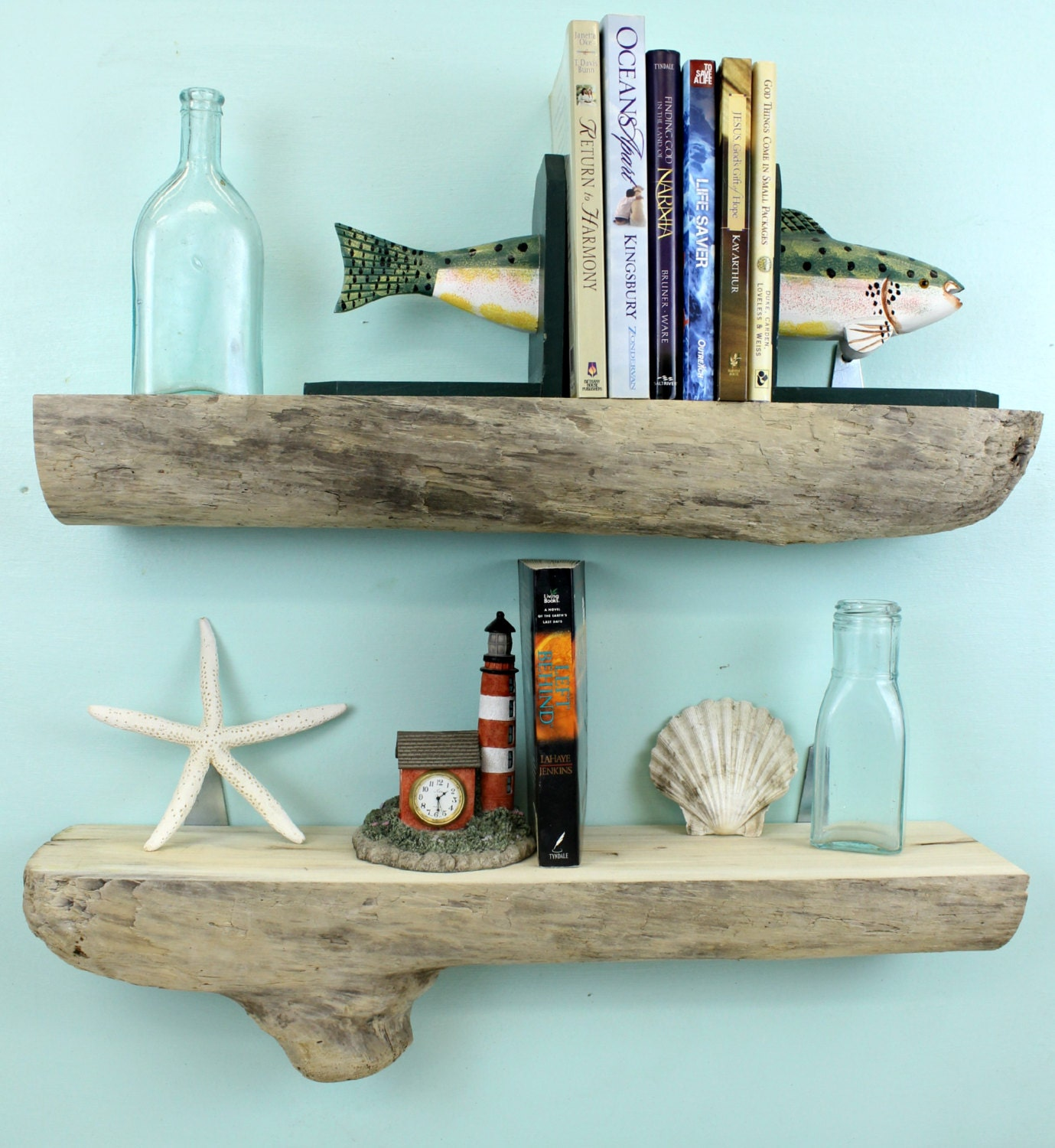 Driftwood shelves set of 2 23 1 4l by strollinthebeach on etsy for Driftwood wall shelves