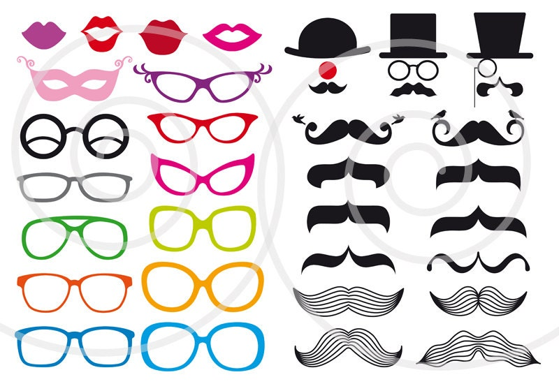 Photo Booth Props Template Glasses Hats and spectacles Photo Booth Clip Art