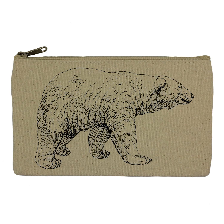 Pencil case stationary polar bear pencil pouch canvas bag pencil holder make up bag school supplies