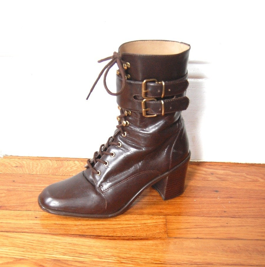 Brown Leather Lace-Up Boots, size 7.5