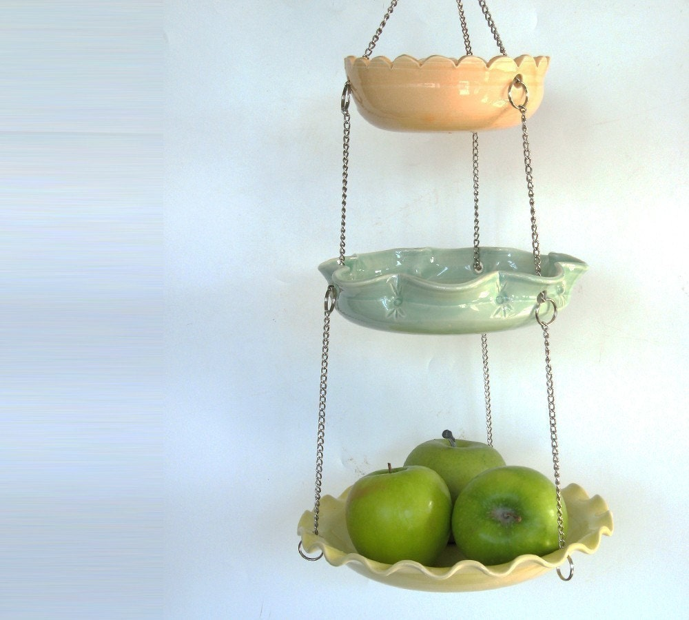 Set of 3 hanging bowls... in citrus colors with unmatchy edges... MADE TO ORDER.