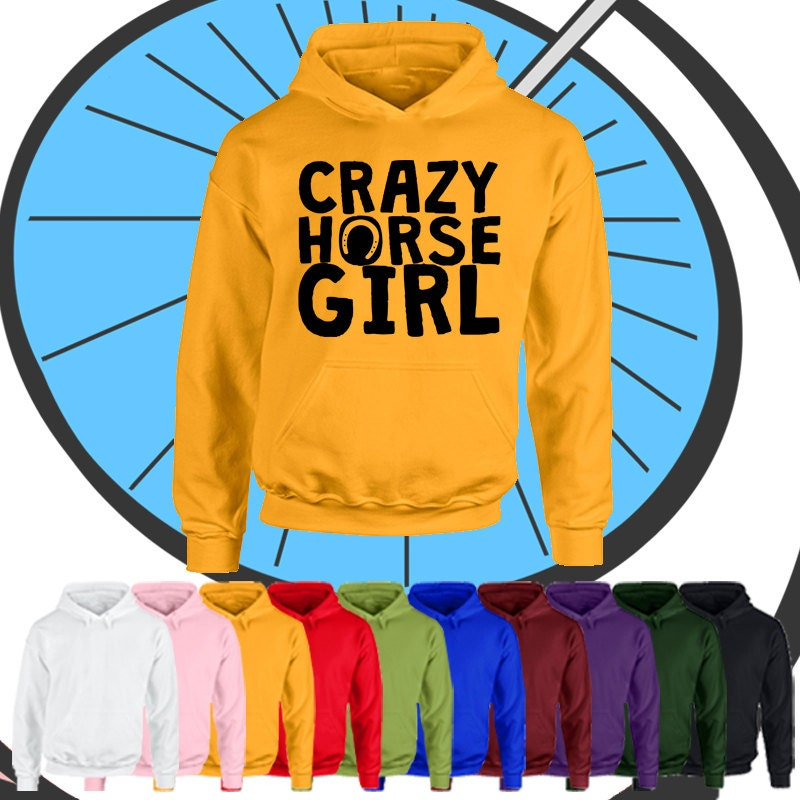 Childrens Crazy Horse Girl Hoodie  Kids Girls Pony Pet Hooded Top Gift  Childs Equestrian Animal Lover Present Gift Hood
