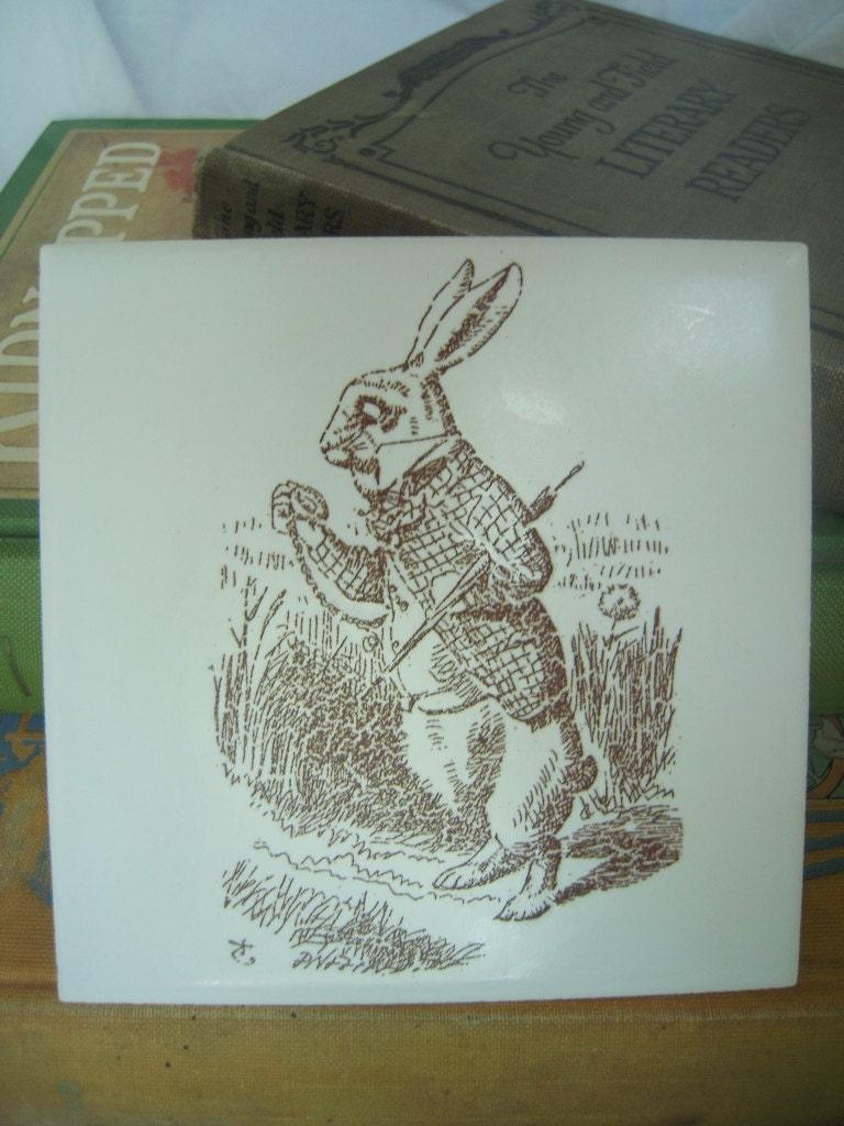 White Rabbit John Tenniel illustration ceramic tile-CUSTOM ORDER