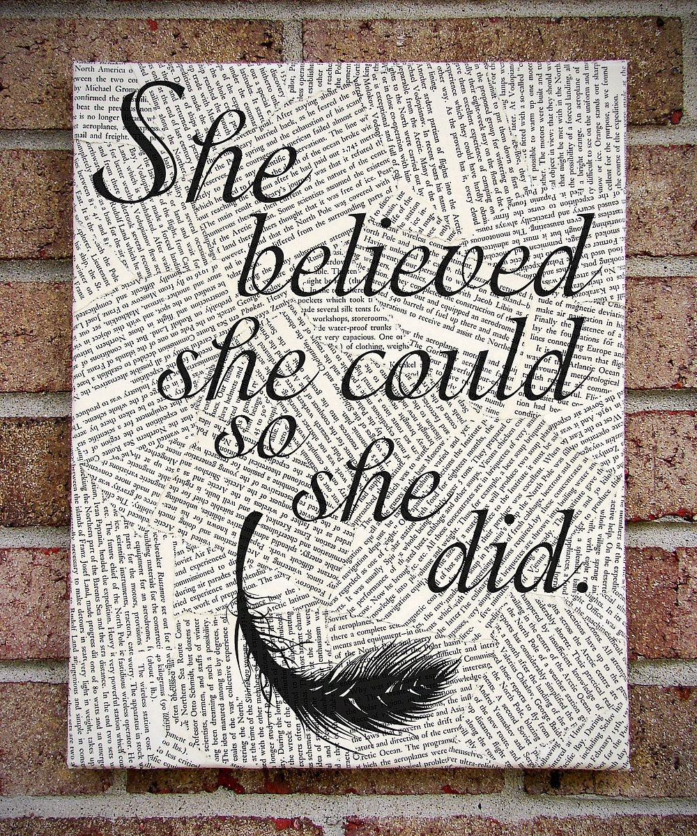 "Quote Wall Art: ""She Believed She Could So She Did"" Canvas Art / Prints on Canvas"