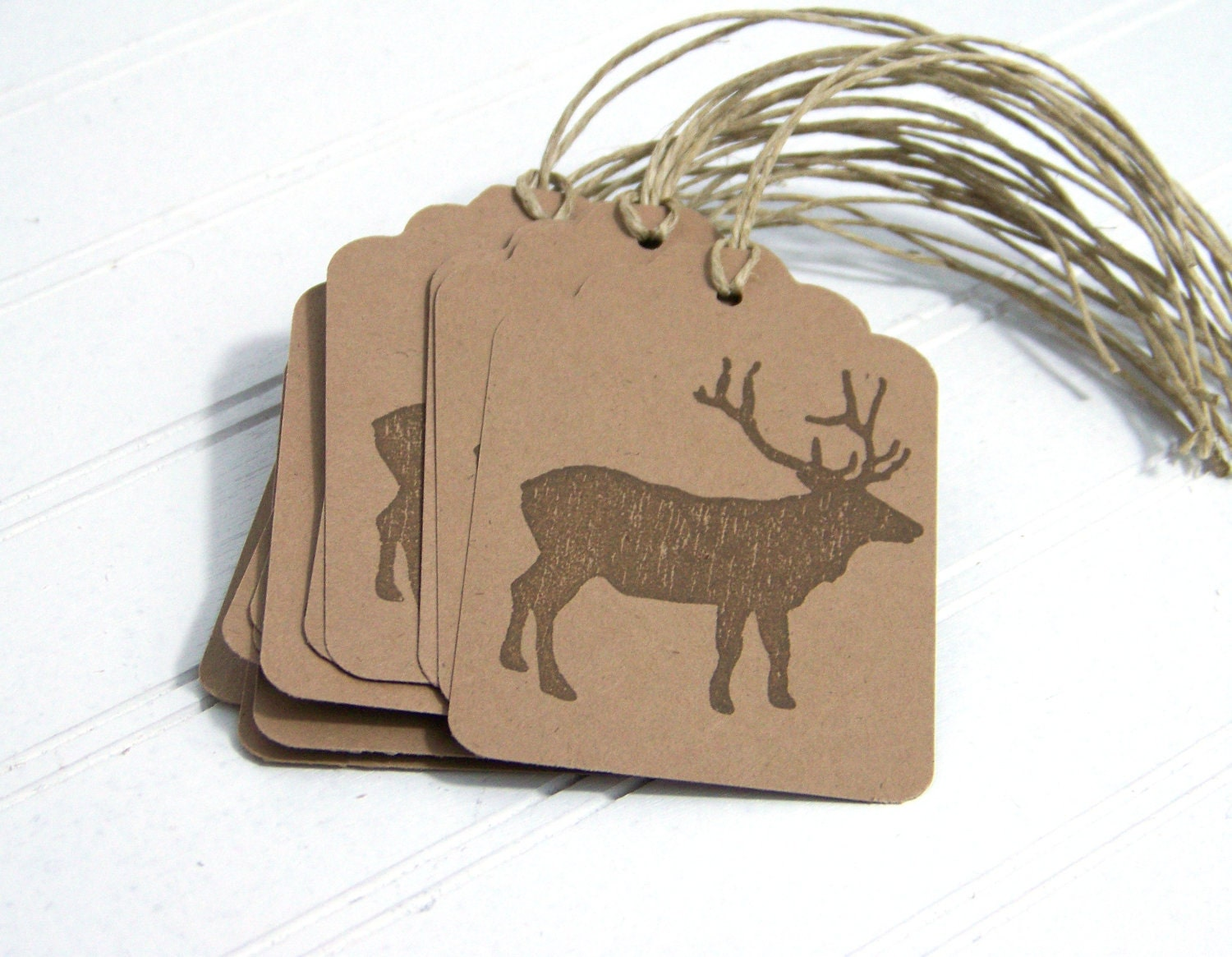 Rustic Elk Gift Tags, Woodland, Brown Handcut Hanging Tag, Eco-friendly Gift Labels - NobleEarth