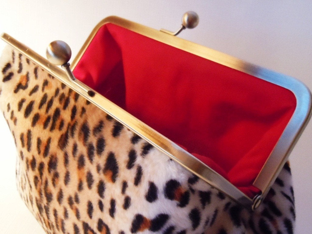 Clutch Purse - Faux Leopard and Red