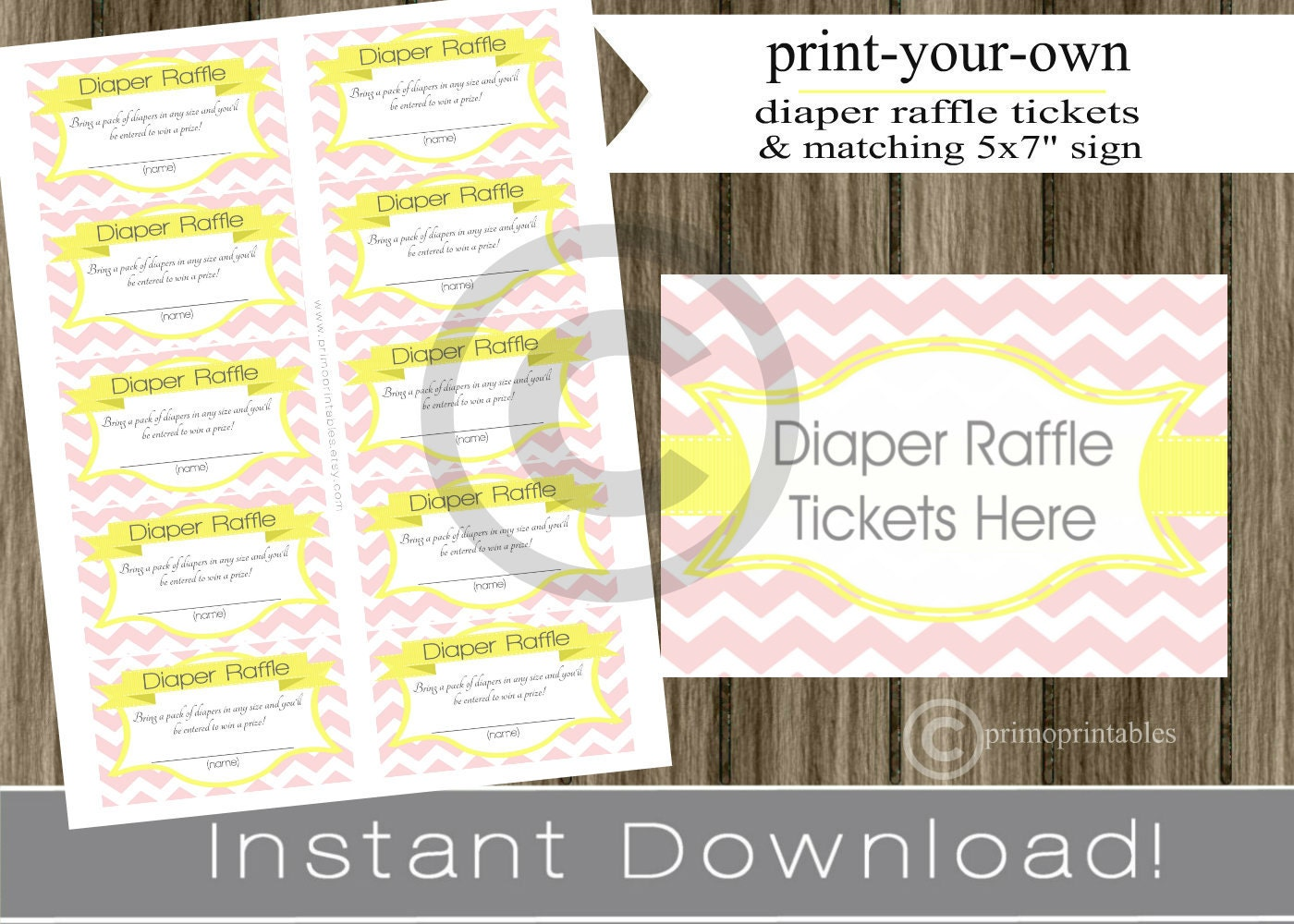 Baby Shower Diaper Raffle Tickets with matching sign pink chevron and ...
