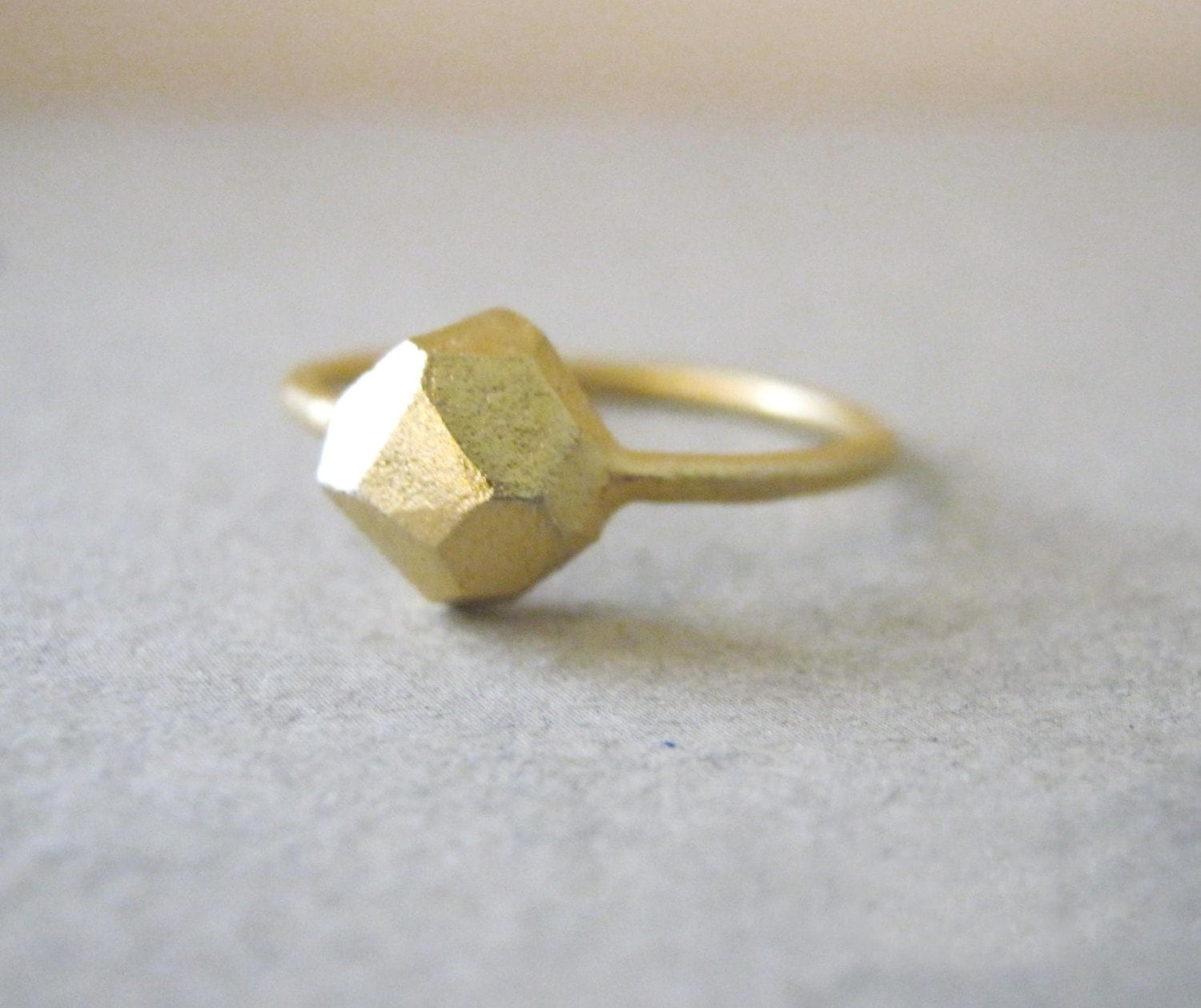 Gold ring faceted jewelry geometric ring wedding by for Geometric wedding ring