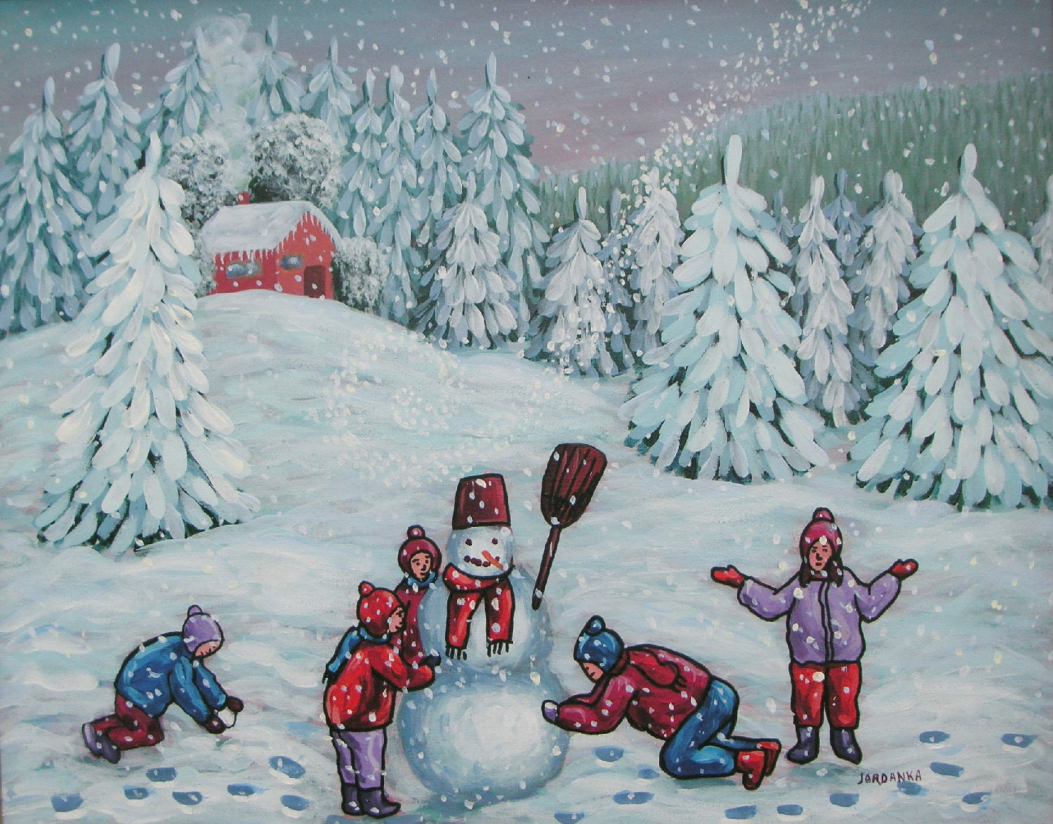 The snowman, children, snow, snowman, snow angels,  Original Acrylic naive painting - treeartist