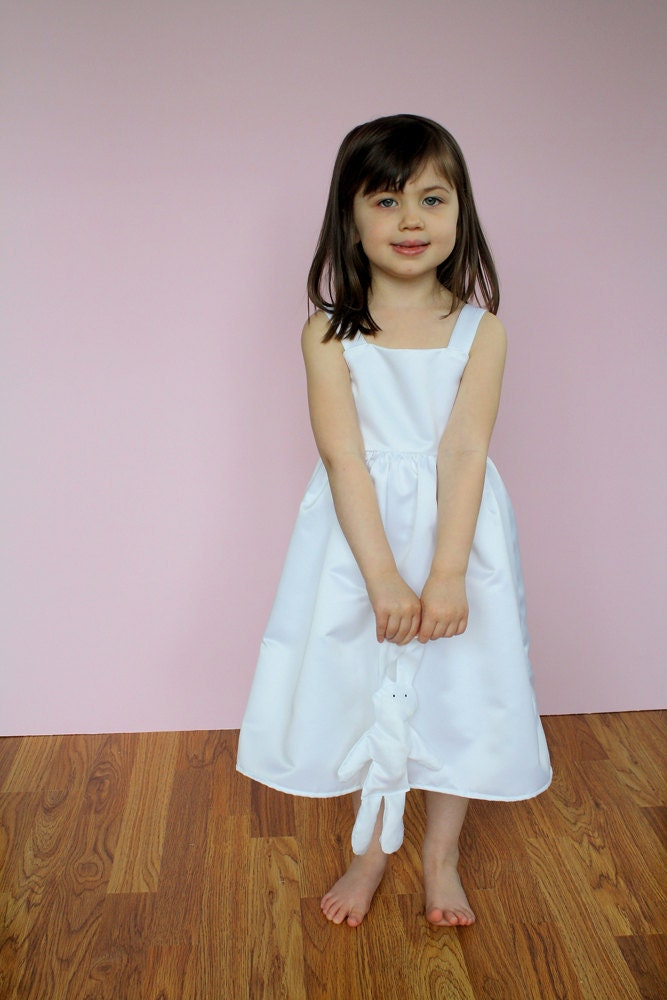 Simply Sweet Flower Girl/ Special Occasion Dress in Bridal Satin. White or Ivory. Child Sizes 3-6x. Lizeee