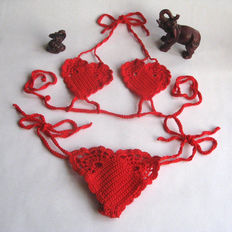 Handmade Crochet Lingerie bikini red little by handicraftscorner