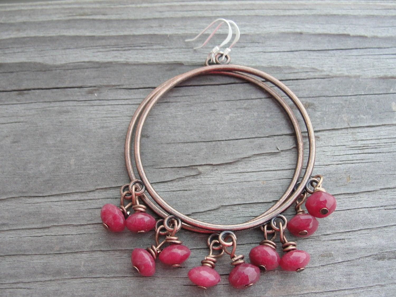 Faceted Ruby Jade Gemstones Copper Hoop Earrings