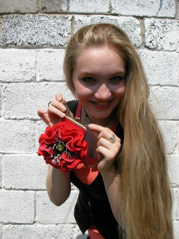 Miniature felted purse with flower Red Poppy, Petite handbag, wool