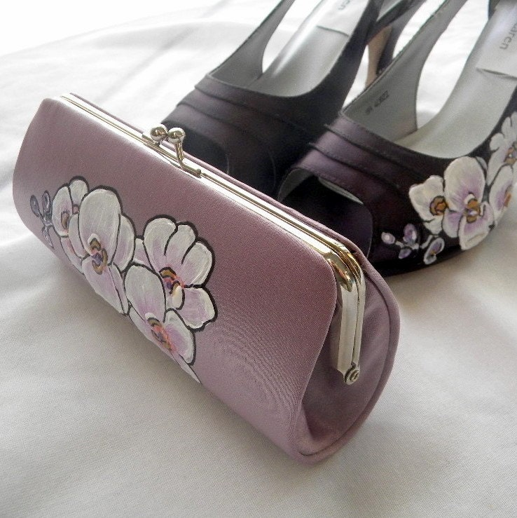 Wedding clutch bag painted orchid on lilac bag
