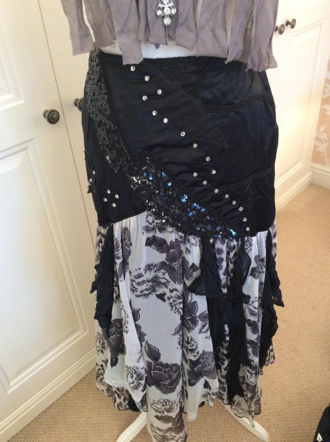 Vintage long skirt with frills black and white animal printsequinsrhinestones one size