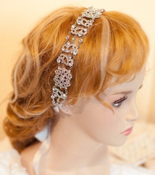 SALE - Bridal Ribbon Rhinestone Headband Hair Accessory - Aimee